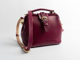 【切線派】がま口 本革手作りのレザーショルダーバッグ 手染め / 総手縫い 手持ち 肩掛け 2WAY 鞄の画像