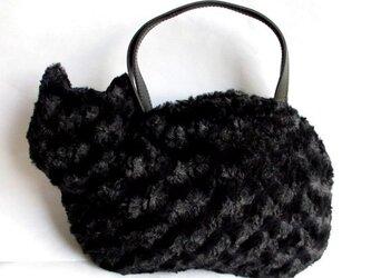 ネコバッグ*ふわふわファーまっくろ黒猫の画像