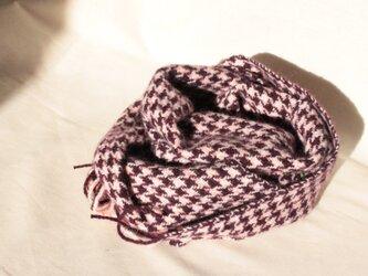 ワイン色の千鳥格子 ウール&アルパカ 手織りの画像