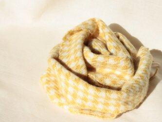 カシミヤ 千鳥格子 ハーブ染め レモングラス 手織りの画像