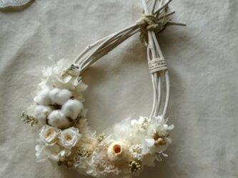 【送料無料】綿花の真っ白なオーバル wreathの画像
