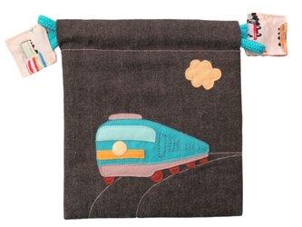 入園用品:巾着 機関車(男の子用)の画像