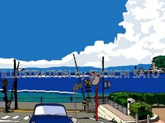版画作品 湘南イラスト「あの夏の水平線」 (鎌倉高校前踏切の海岸線とワーゲン・タイプ3のイラスト♪の画像