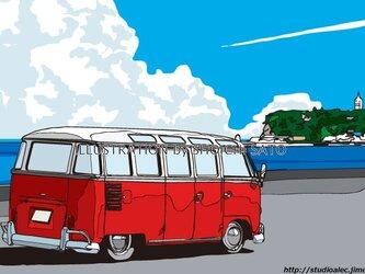 版画作品 湘南イラスト「セブンマイルズ・パーク2」 (七里ヶ浜駐車場から江ノ島を眺めるワーゲンバスのイラスト)の画像