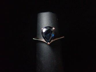 K10YG Sapphire-Vline Ring.の画像