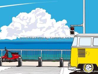 版画作品 湘南イラスト「海岸線を越えて」 (入道雲をバックに湘南の海岸線を走るワーゲンバスのイラスト♪)の画像