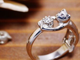 猫の贈り物/4月の誕生石 ダイヤモンド シルバーリングの画像