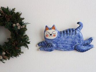 壁掛け 飛び猫 (青)の画像