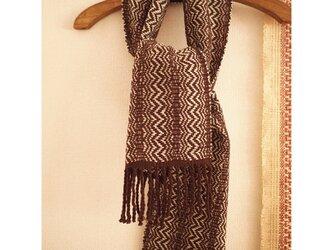 ラムウールの手織りマフラーの画像