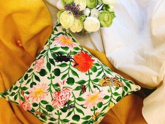 手刺繍 MPKクッションカバー(花G01)の画像