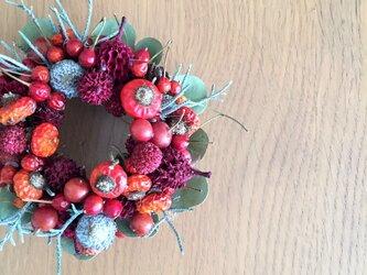赤い実がいっぱいのプチリースの画像