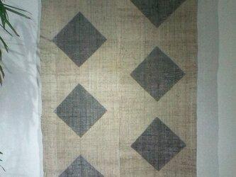ダイヤ柄しな布調麻暖簾2巾の画像