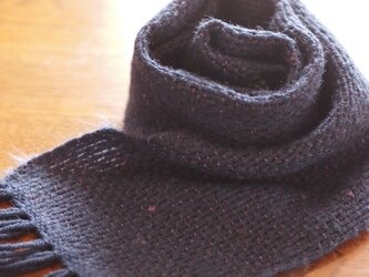 モヘアの手織りミニマフラー(blue)の画像