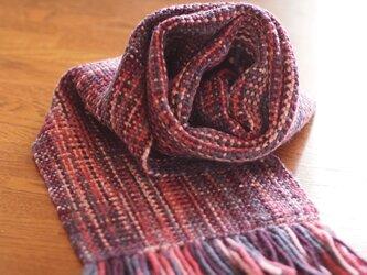メリノウールの手織りマフラー(ピンク×紫)の画像