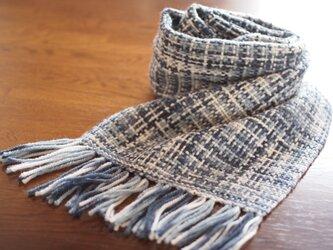 メリノウールの手織りマフラー(ブルーグレー)の画像
