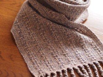 ラムウールの手織りマフラー(キャンバス織)の画像