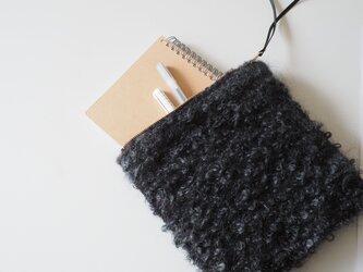 『grey poodle』 noriko tweed スクエアポーチ 手織り コスメ ミニクラッチの画像