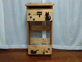 ★木製郵便ポスト 郵便受け★H90 猫付★の画像