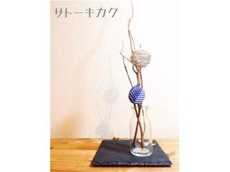 *ブローチ*刺繍×シルクスクリーン(ブルー)  【送料無料の画像