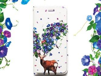 ★手帳型ケース★鹿蕣(あさがお) iPhoneX〜選択可能 iPhoneケースの画像