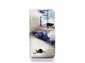 ★手帳型ケース★おさんぽネコin紫陽花の咲く部屋 iPhoneX〜選択可能 iPhoneケースの画像