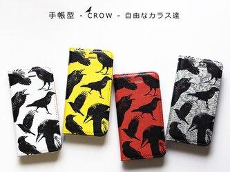 ★手帳型ケース★CROW★自由なカラス達 iPhoneX〜選択可能 iPhoneケースの画像