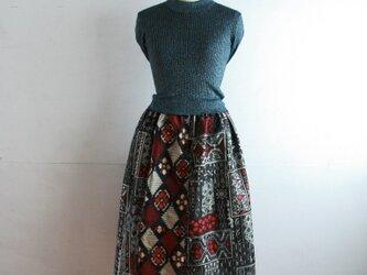 銘仙 ダイヤ模様のパッチワーク ゴムスカート Fサイズの画像