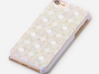 iPhone8対応★iPhone7ケース 天然貝ケース(鞠・白カバー)<螺鈿アート>の画像
