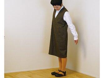 Vネックジャンパースカート ネイビーの画像