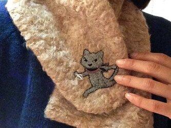 黒猫クロッチ刺繍 ファーマフラーの画像