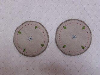 リネンとウール毛糸のコースター2枚セット・①の画像