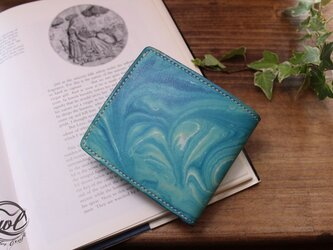 二つ折り財布 マーブリング・ブルーの画像