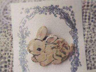 黄色いお花の可愛い白ウサギちゃん の画像