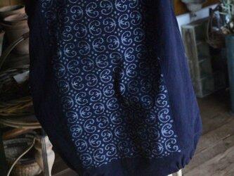 手織り久留米絣バルーンチュニックワンピースの画像