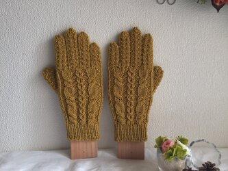 【受注生産】★☆手編み♪模様編み5本指手袋(洗濯機で洗えます♪)☆★の画像