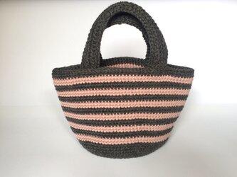  SALE  手編みのニットバッグ  ボーダーの画像