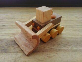 木のおもちゃ ブルドーザーの画像
