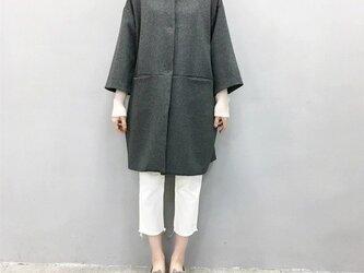 ☆en-en濃灰ミニシャギーウール・コクーンコート・濃いグレー(裏地付き)の画像