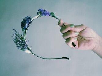 Purple dried flowers head bandの画像