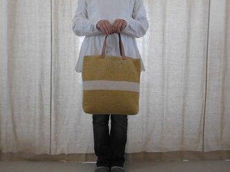 裂き織りバッグ レモンイエローの画像