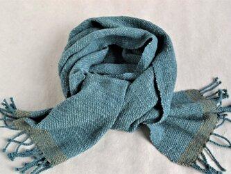 ブルーグリーンの手織りコットンストールの画像