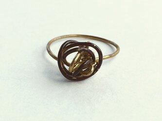 brass ring+漆 焦げ茶  12.5号の画像