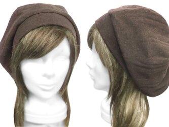 変りリブ織ウールニット/リブ付ベレー帽(ゆったり)◆杢ダークブラウンの画像