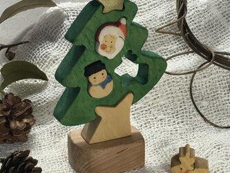 「ミニ」彩色組み木絵のXマスツリーの画像