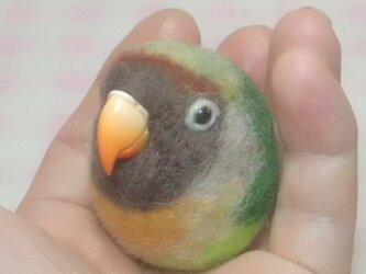 ラブバード ヤエザクラインコ 羊毛フェルト 小鳥マカロン(?)選べる2タイプ(マグネットまたはブローチ)の画像
