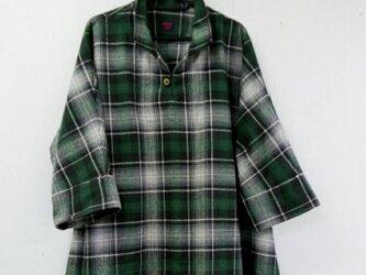 ドルマンスリーブシャツ*チュニックブラウス(フランネル起毛チェック)の画像