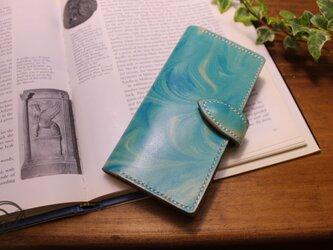 iPhone7ケース手帳タイプ  本革ハンドメイド マーブリング・ブルーの画像