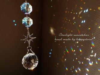 星降る夜に*星とスワロフスキーのサンキャッチャー/シルバーの画像