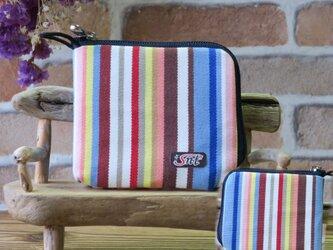 【薄い財布】倉敷帆布 カード・お札・小銭一括収納 二つ折り財布 水色 紺ファスナーの画像
