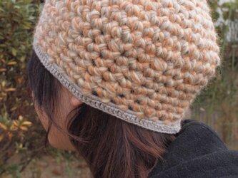 杢糸の壺型きのこニット帽【オレンジ系】の画像